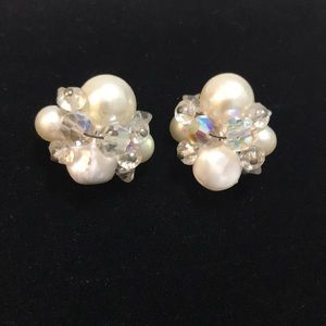 Jewelry - Vintage Faux Pearl and Crystal clip on Earrings